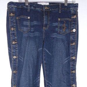 Baby Phat blue jeans Capri sides button